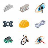 Urbanized Icons Set. Isometric Set Of 9 Urbanized Icons For Web Isolated On White Background poster