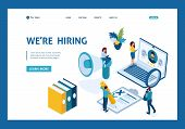 Isometric Hr Manager, We Hire Employees To Our Company, Recruiting Concept. Template Landing Page. poster