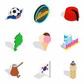 New Horizon Icons Set. Isometric Set Of 9 New Horizon Icons For Web Isolated On White Background poster