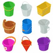 Bucket Types Container Icons Set. Isometric Illustration Of 9 Bucket Types Container Icons For Web poster