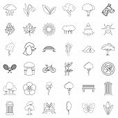 Green Yard Icons Set. Outline Set Of 36 Green Yard Icons For Web Isolated On White Background poster