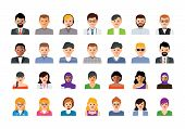 Vector Set Of Colorful People Icons. Business Person Flat Illustration. Man And Woman Symbols. Peopl poster