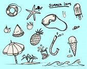 Doodle Items For Summer, Set Of Vector For Summer Symbol, Doodle Style poster