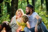 Good Day For Spring Picnic In Nature. Explore Nature Together. Family Day Concept. Mom Dad And Kid B poster