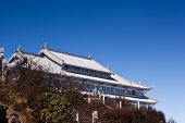 stock photo of emei  - The silvery palace on Golden Summit in Mount Emei - JPG