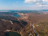Aerial Panorama Of Road In Hill Terrain With Lakes, View From Above. poster