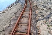 Old Rusty Weathered Railroads Right At The Baltic Sea Coast poster