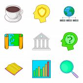 Objective Icons Set. Cartoon Set Of 9 Objective Icons For Web Isolated On White Background poster