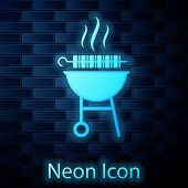 Glowing Neon Barbecue Grilled Shish Kebab On Skewer Stick Icon Isolated On Brick Wall Background. Bb poster