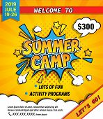 Summer Camp Invitation Banner With Handdrawn Lettering In Comic Speech Bubble On Halftone Background poster