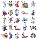 Bug Funny Insect Icons Set. Cartoon Illustration Of 25 Bug Funny Insect Icons For Web poster