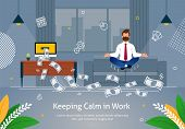 Worker In Suit Doing Yoga Trying To Keep Calm And To Reach Success And Earn Salary Banner Vector Ill poster