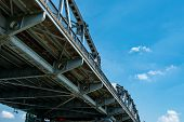 Steel Bridge Structure Against Blue Sky And White Clouds. Iron Bridge Engineering Construction. Stro poster