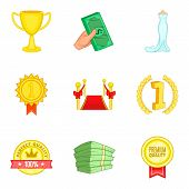 Improve Luck Icons Set. Cartoon Set Of 9 Improve Luck Icons For Web Isolated On White Background poster