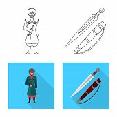 Isolated Object Of Culture And Sightseeing Icon. Set Of Culture And Originality Vector Icon For Stoc poster
