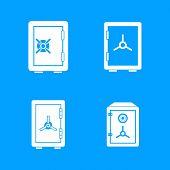 Safe Icon Set. Simple Set Of Safe Icons For Web Design Isolated On Blue Background poster