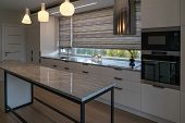 Modern Kitchen Furniture With Marble Worktops , Drawers, Cabinets, Faucet By A Kitchen Sink, Hob, St poster