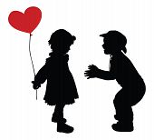 image of baby cowboy  - Silhouettes of boy in cowboy hat and girl with heart - JPG