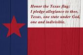 Pledge Of Allegiance  To The Texas State Flag On Weathered Wood poster