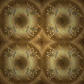 Classic Vintage Background. Seamless Classic Vector Beige And Brown And Golden Pattern. Traditional  poster