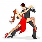 Постер, плакат: Иллюстрация пара исполняющих танец Самба