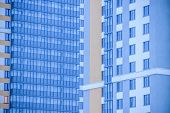 Windows Of A High Multi-storey Residential Building. High Building. Residential High-rise Building. poster