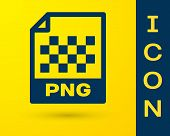 Blue Png File Document Icon. Download Png Button Icon Isolated On Yellow Background. Png File Symbol poster