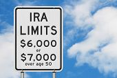 Retirement Ira Contributions Limits On A Usa Highway Speed Road Sign With Sky Background 3d Illustra poster