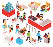 Supermarket Isometric Set With Products Offer Promotion Section Trolley Cart Basket Customers Cashie poster