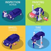 Set Isometric Advertising Cards For Car Service. Inspection Repair, Painting, Wheel Change, Tire Fit poster
