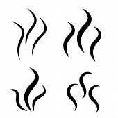 Smoke Steam Silhouette Icon. Cooking Steam Or Warm Aroma Smell Mark, Steaming Vapour Odour Symbols.  poster