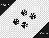 Grey Paw Print Icon Isolated On Transparent Background. Dog Or Cat Paw Print. Animal Track. Vector I poster