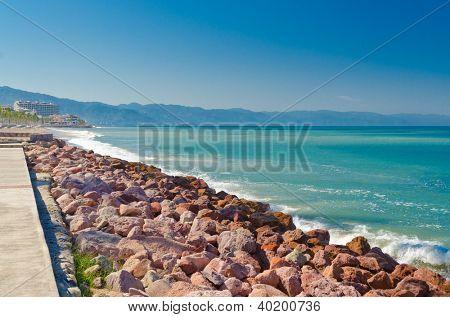 Pacific ocean at sunny day in Puerto Vallarta, Mexico