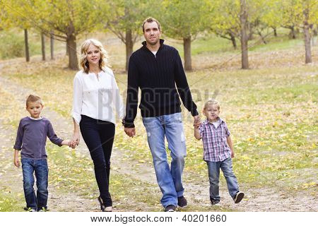 Cute Family on a walk together