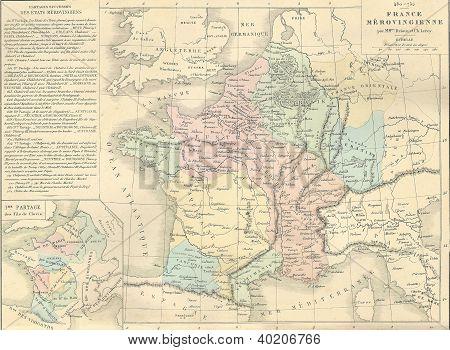 Antique Map Of Merovingian France,