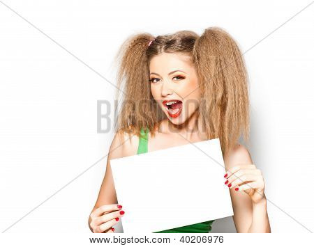 Curly Girl Screaming While Holding A White Paper Isolated On White