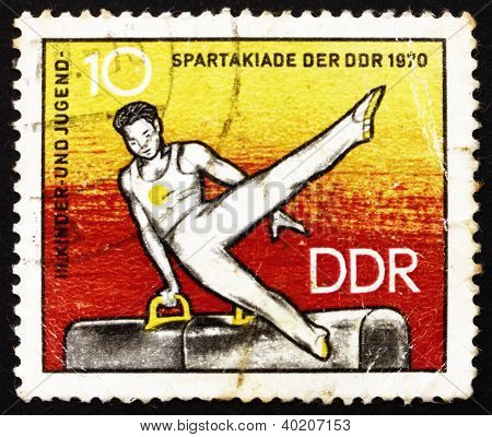Postage Stamp Gdr 1970 Athlete On Pommel Horse