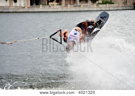 Water Ski In Action: Man Shortboard Tricks