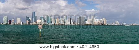 View Of Miami Skyline With Manatee Sign