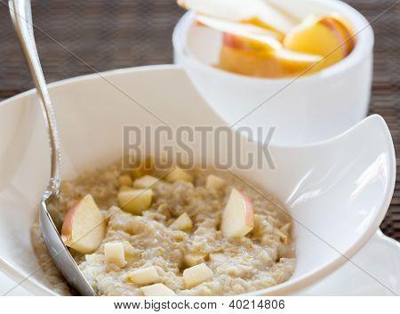 Oatmeal Breakfast In Modern White Bowl