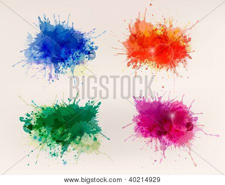 Collection of colorful abstract watercolor backgrounds. Raster version of vector