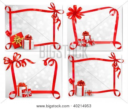 Set of holiday backgrounds with red gift bow with gift boxes. Raster version of vector.