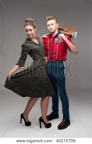 young dancing retro couple