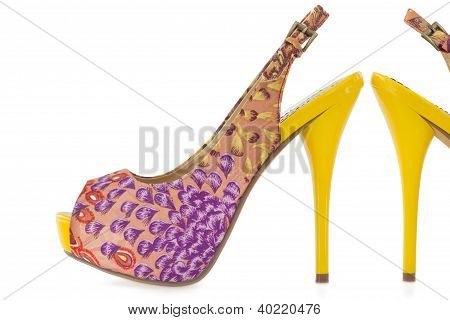 Yellow Women Stiletto Shoes, Isolated On White .