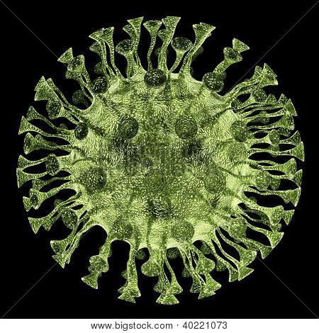 Bacteria virus render in green color isolated on black
