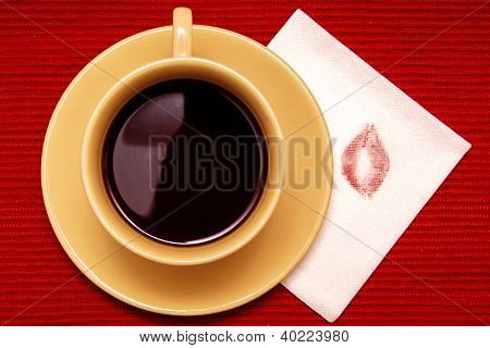 Lipstick Kiss With Cup Of Coffee