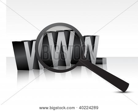 Www Over White Background With A Magnifier