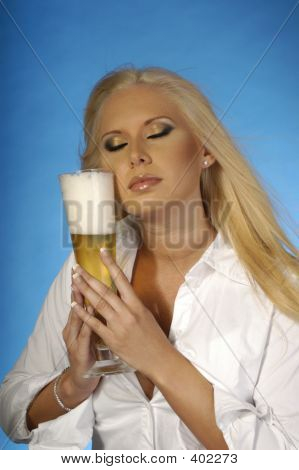 Sexy Blond With Beer 1