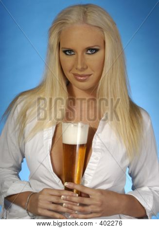 Sexy Blond With Beer 4