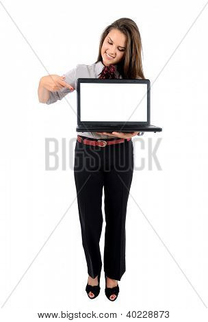 Isolated young business woman with laptop